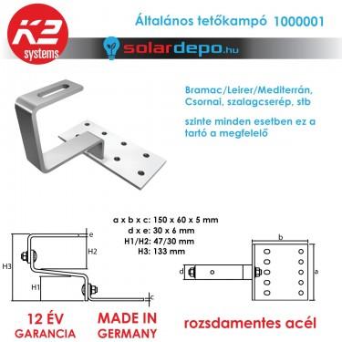 K2 Systems 1000001 tetőkampó általános cserépfedéshez