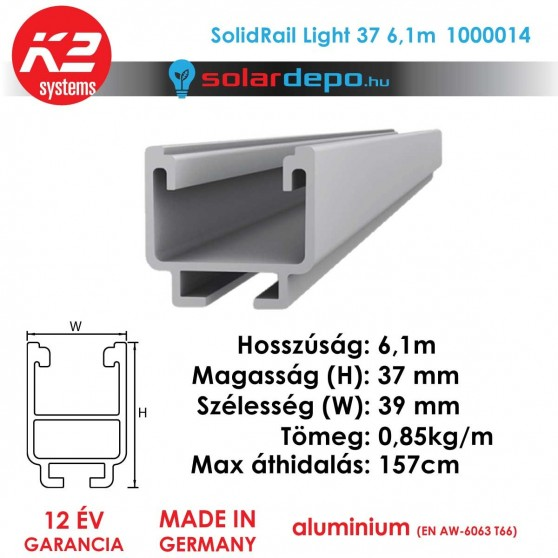 K2 Systems 1000014 SolidRail Light 37 6,1m
