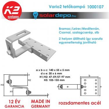 K2 Systems 1000107 VARIO2 állítható tetőkampó általános cserépfedéshez