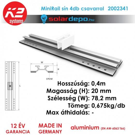 K2 Systems 2002341 MiniRail 4db csavarral