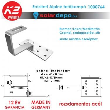 K2 Systems 1000764 erősített ALPINE tetőkampó általános cserépfedéshez
