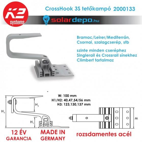 K2 Systems 2001672 CrossHook 3S tetőkampó általános cserépfedéshez