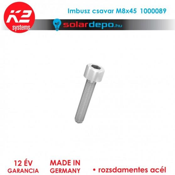 Imbusz csavar M8x45 rozsdamentes A2