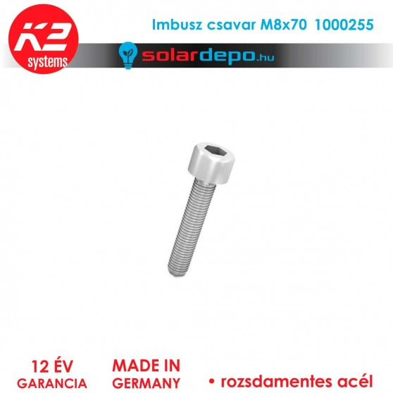 Imbusz csavar M8x70 rozsdamentes A2