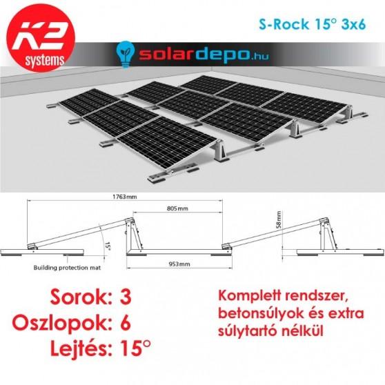 K2 S-Rock 15° tartórendszer 3x6 - 18 napelemhez lapostetőre