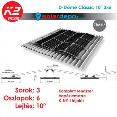 K2 D-Dome Classic 10° tartórendszer 3x6 - 18 napelemhez