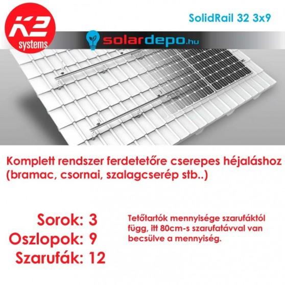 K2 SolidRail tartórendszer 3x9 - 27 napelemhez cseréptetőhöz UltraLight 32 sínnel