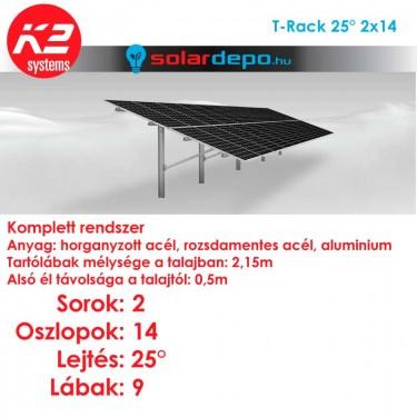 K2 T-Rack tartórendszer 2x14 - 28 napelemhez talajra