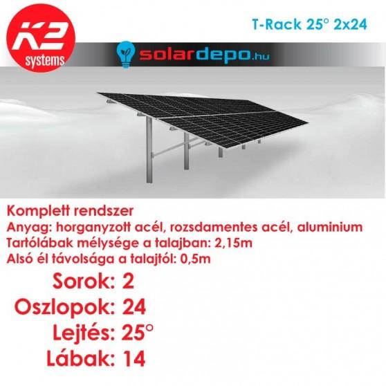 K2 T-Rack tartórendszer 2x24 - 48 napelemhez talajra