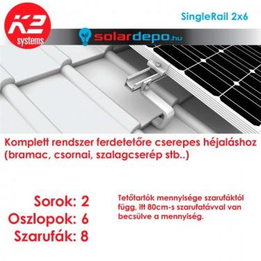 K2 SingleRail tartórendszer 2x6 - 12 napelemhez cseréptetőhöz