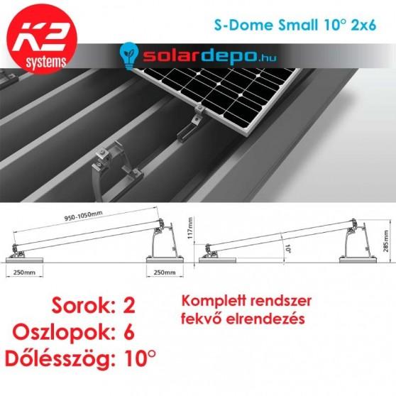 K2 S-Dome Small tartórendszer 2x6 - 12 napelemhez trapézlemezre