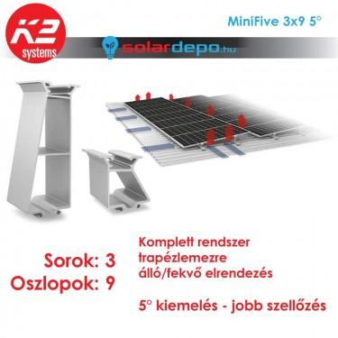 K2 MiniFive tartórendszer 3x9 - 27 napelemhez trapézlemezre 5°-os kiemeléssel