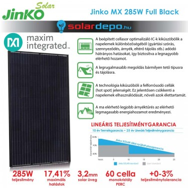 Jinko Solar Maxim Integrated cellasoroptimalizált 285W okos napelem