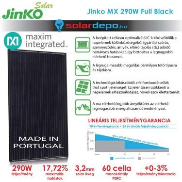Jinko Solar Maxim Integrated cellasoroptimalizált 290W okos napelem