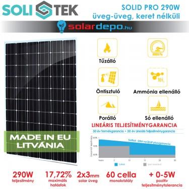 SOLITEK SOLID PRO 290W keret nélküli üveg üveg napelem