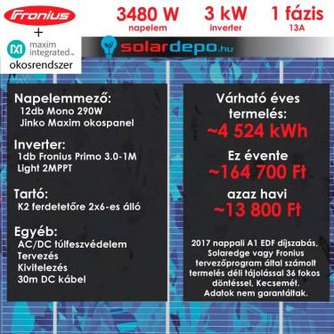 Kulcsrakész okos napelemes rendszer 1 fázis 3480W Fronius Jinko Maxim panellel