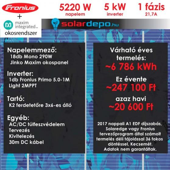 Kulcsrakész okos napelemes rendszer 1 fázis 5220W Fronius Jinko Maxim panellel