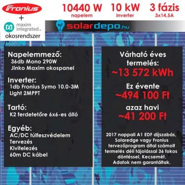 Kulcsrakész okos napelemes rendszer 3 fázis 10440W Fronius Jinko Maxim panellel