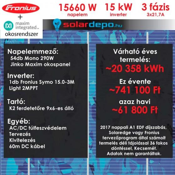 Kulcsrakész okos napelemes rendszer 3 fázis 15660W Fronius Jinko Maxim panellel