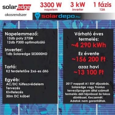 Kulcsrakész okos napelemes rendszer 1 fázis 3300W Solaredge