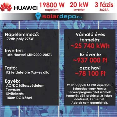 Kulcsrakész napelemes rendszer 3 fázis 19800W Huawei