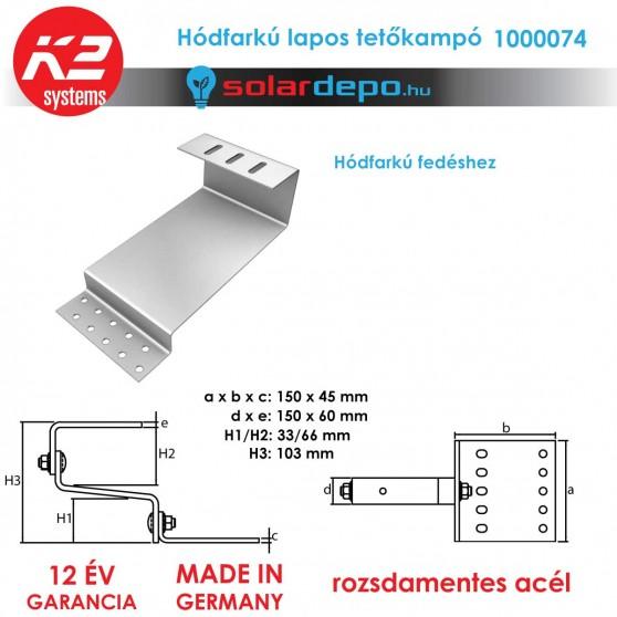 K2 Systems 1000074 tetőkampó hódfarkú cserépfedéshez