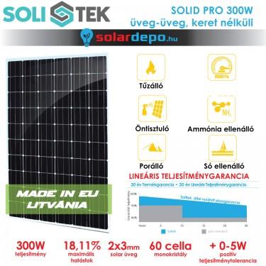 SOLITEK SOLID PRO 300W keret nélküli üveg üveg napelem
