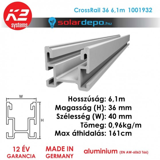 K2 Systems 1001932 CrossRail 36 6,1m