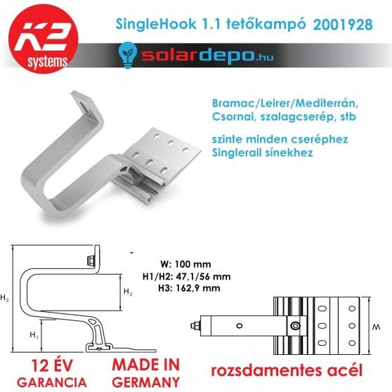 K2 Systems 2001928 SingleHook 1.1 tetőkampó általános cserépfedéshez