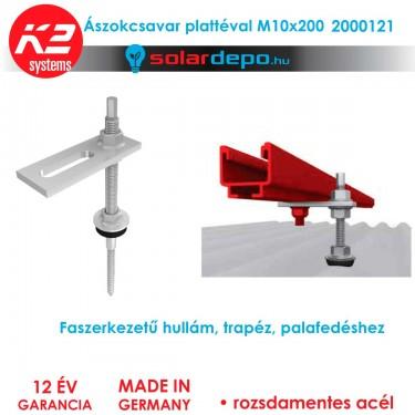 K2 Systems 2000125 Ászokcsavar + platte M10x200