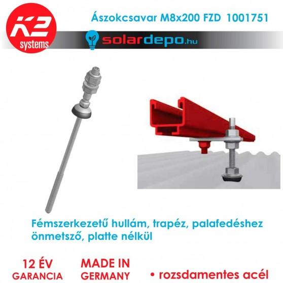 K2 Systems 1001751 Ászokcsavar M8x200 FZD önmetsző