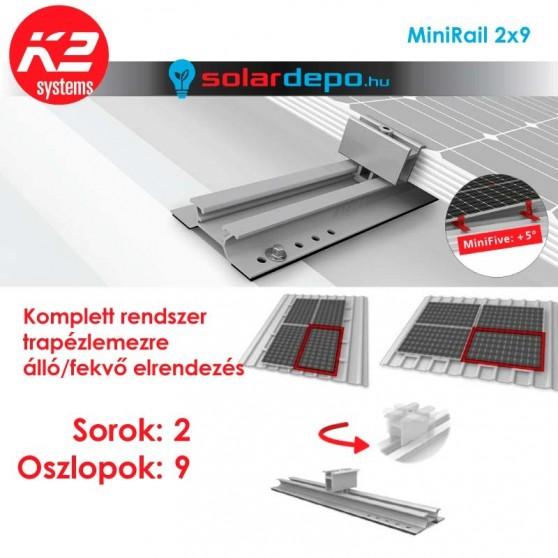 K2 MiniRail tartórendszer 2x9 - 18 napelemhez trapézlemezre