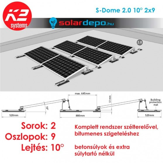 K2 S-Dome 2.0 tartórendszer 2x9 - 18 napelemhez lapostetőre
