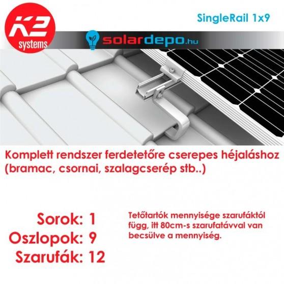 K2 SingleRail tartórendszer 1x9 - 9 napelemhez cseréptetőhöz