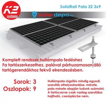 K2 SolidRail tartórendszer 3x9 - 27 napelemhez palatetőhöz UltraLight 32 sínnel