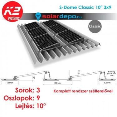 K2 S-Dome Classic tartórendszer 3x9 - 27 napelemhez trapézlemezre