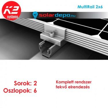 K2 MultiRail tartórendszer 2x6 - 12 napelemhez trapézlemezre