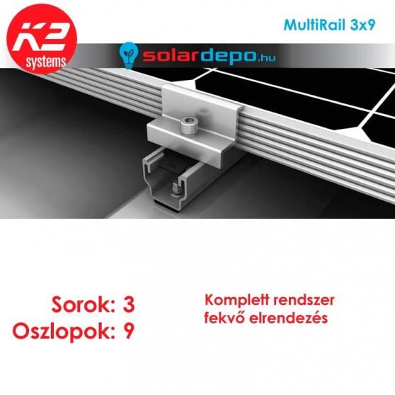 K2 MultiRail tartórendszer 3x9 - 27 napelemhez trapézlemezre