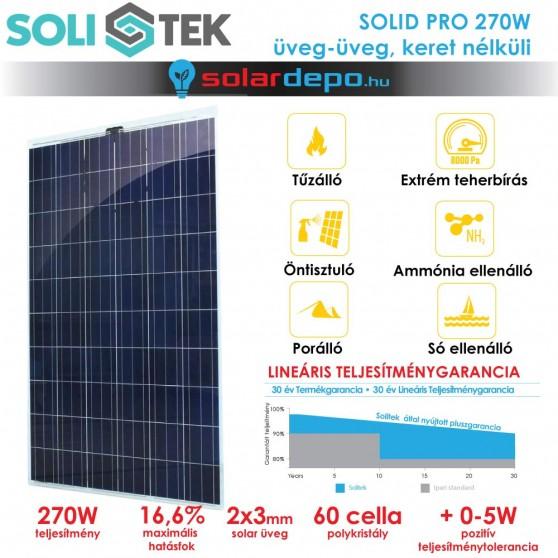 SOLITEK SOLID PRO 270W keret nélküli üveg üveg napelem