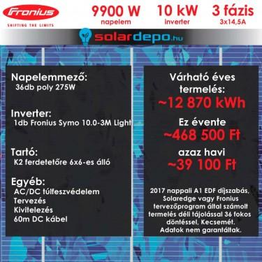 Kulcsrakész napelemes rendszer 3 fázis 9900W Fronius