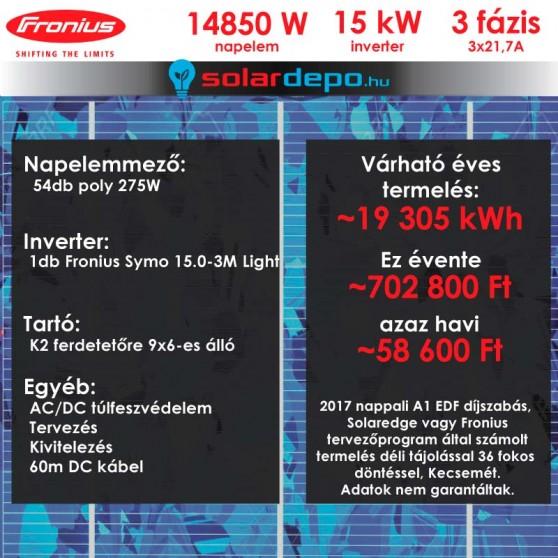 Kulcsrakész napelemes rendszer 3 fázis 14850W Fronius