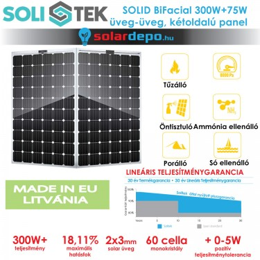 SOLITEK SOLID BIFACIAL kétoldalú üveg üveg napelem
