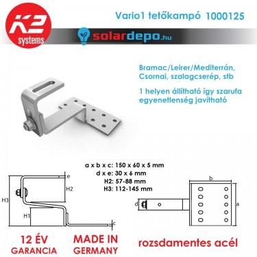 K2 Systems 1000125 VARIO1 állítható tetőkampó általános cserépfedéshez