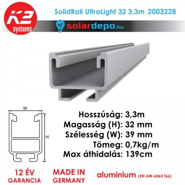 K2 Systems 2003097 SolidRail Ultralight 32 3,3m