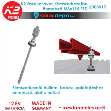 K2 Systems 2003017 Ászokcsavar M8x195 FZD önmetsző