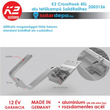 K2 Systems 2003156 Crosshook 4SL Alu tetőkampó
