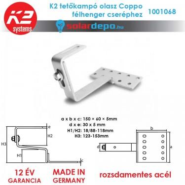 K2 Systems 1001068 tetőkampó Coppo cseréphez